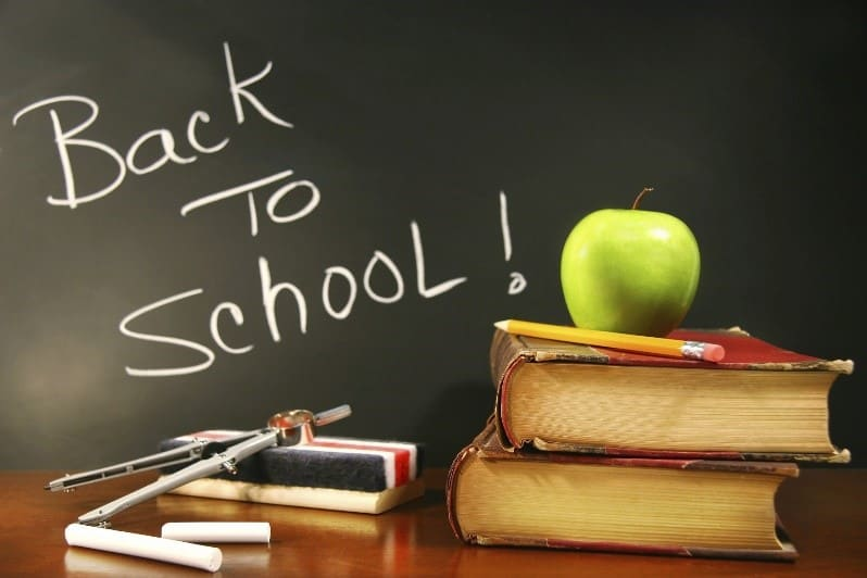 Back to School themed image with chalkboard, books, and apple