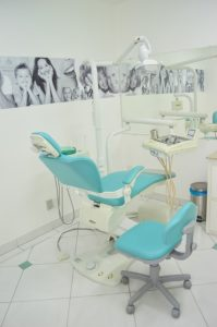 Dental chair inside a dentist's office